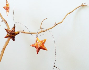 GARLAND Orange and Root Beer Stars Christmas Soda Can Upcycled