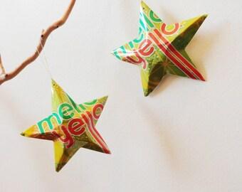 Mello Yello  Stars Christmas Ornaments Soda Can Upcycled Yellow