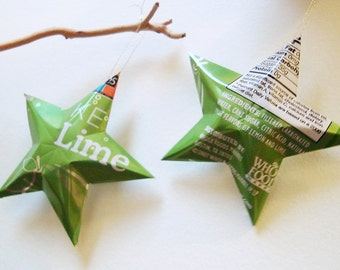 Key Lime Soda Stars Christmas Ornaments Aluminum Can Upcycled Whole Foods 365 Brand