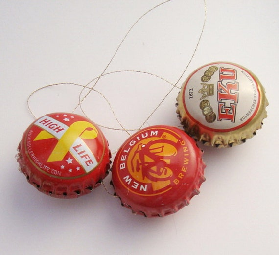Beer Lover's Christmas Ornaments Bottle Cap Upcycled