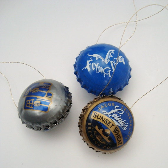 The Blues Christmas Ornaments Beer Bottle Cap Upcycled
