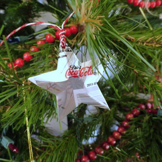 Stars christmas soda can upcycled diet coca cola snow bears holiday