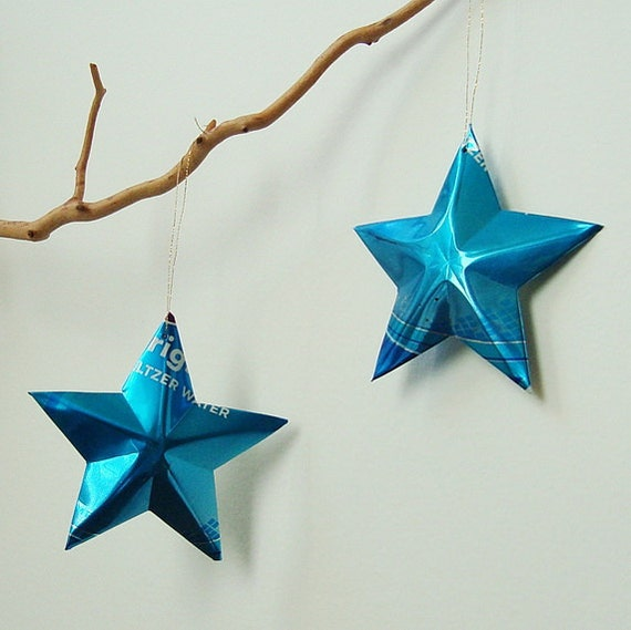 Blue Seltzer Stars Christmas Ornaments Soda Can Upcycled Repurposed