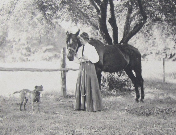 Antique Cabinet Card Photo- A Lady Wearing a Tie with her Horse and Dog