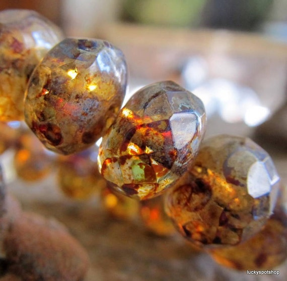 Last Lot . Amber Swirl . New Czech Picasso Faceted Glass Beads (10)