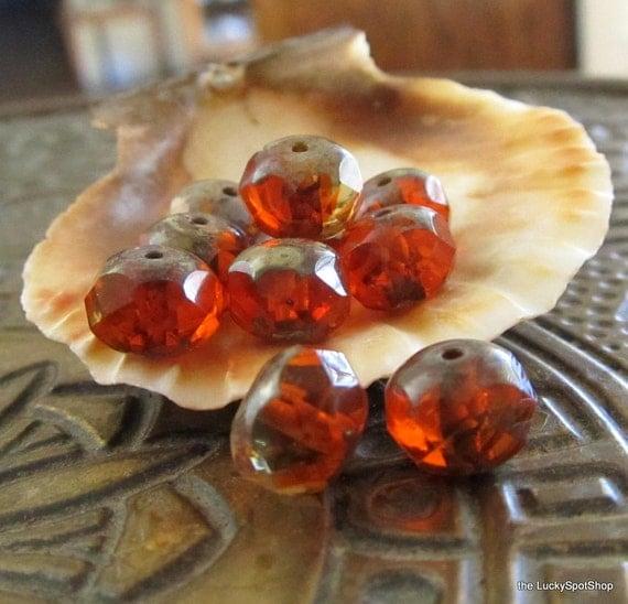 Last Lot . Carnelian Swirl . Czech Picasso Glass Beads (10)