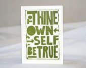 TYPOGRAPHY Inspirtational Art Card Raw Art Letterpres  Shakespeare Recovery
