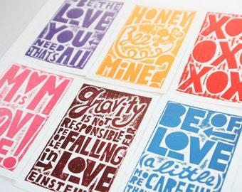 12 VALENTINE VALENTINES DAY Postcards Raw Art Letterpress 12 cards