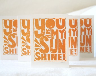 You Are My Sunshine, Note Cards, Blank Card, Greeting Cards, Baby Shower, Card Set, SaleSunshine, Card for Kids, Summer Sale
