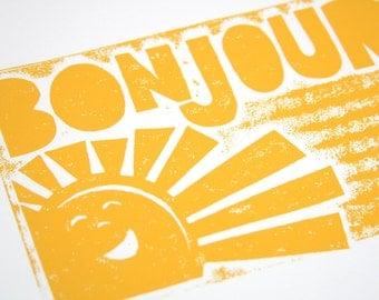 BONJOUR French Sunshine Wall Art, baby nursery art, good morning, kitchen art, Raw Art Letterpress, Typography Poster