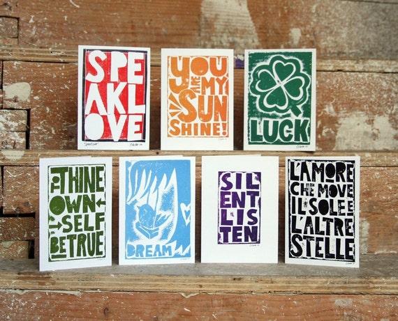 Greeting Card Set of 6  Raw Art Letterpress