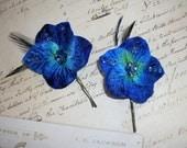 Royal and Navy Blue Velvet Hydrangea Flower Wedding Bridal Bobby Pins Hair Clips