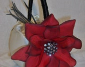 2 pc Flower Girl Baskets with ostrich feather and deep red rose flower and rhinestone accent