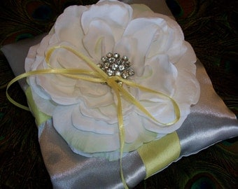 Silver and Yellow Wedding Theme, Ring Bearer Pillow Ivory or White Rose