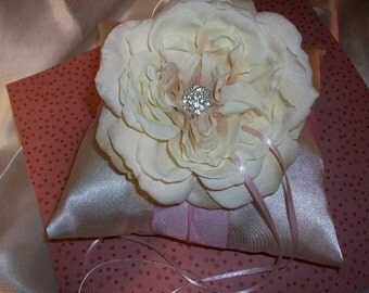 Pink Blush and Ivory or White Wedding Ring Bearer Pillow