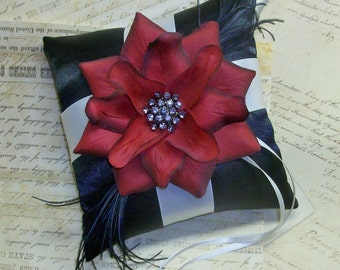 Black and Ivory OR White with Deep Red, Ring Bearer Pillow