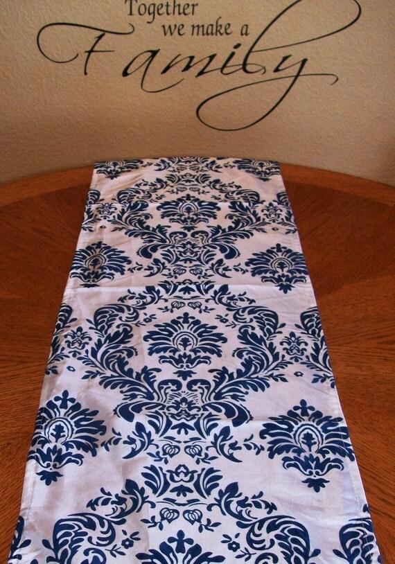 Damask Navy Blue OR Royal Blue Table Runner 12x108