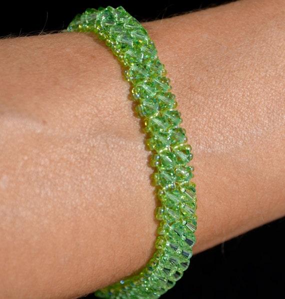 Peridot Swarovski Crystal Tennis Bracelet w/ Magnetic Clasp