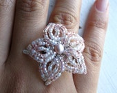 The Ballerina - Pink and Silver Filigree French Beaded Flower Ring