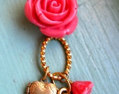 Key to my Heart - Coral Pink and Gold Necklace