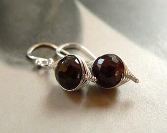 Garnet-Sterling Silver - Earrings