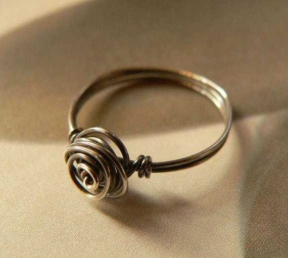 Rose Ring, Sterling Silver Wire-wrapped Handcrafted Jewelry