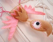 SALE Bunting Birds - pink and fawn