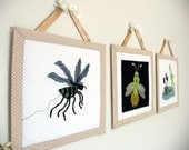 Wall Hangings - Garden Days - Set of Three - Frog, Mosquito, Glow Bug