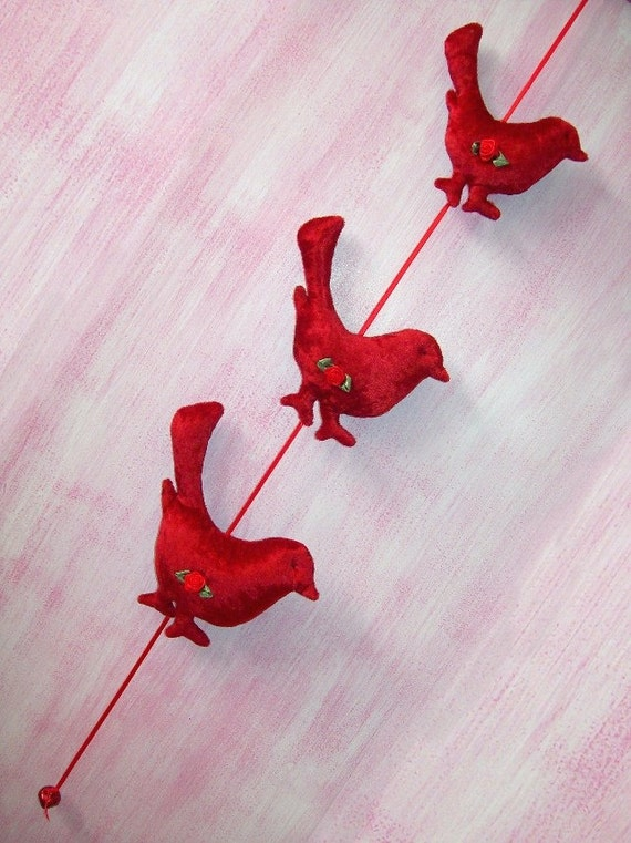 Nursery Mobile - Little Wrens - two tone red