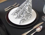 Black and White Napkins Wedding Table Centerpiece Damask Floral Linens Black Fabric Cloth Napkins
