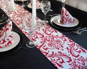 Red Table Runner Wedding Table Centerpiece Red and White Floral Damask Decor Party Shower Decoration Linens