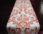 Orange Table Runner Damask Floral Runner Wedding Table Centerpiece Linens Decoration Burnt Orange Home Decor