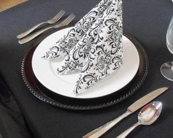 Black and White Napkins Wedding Table Centerpiece Damask Floral Linens Black Fabric Napkins