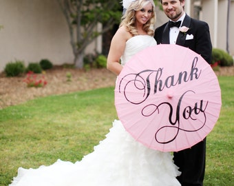 Wedding Parasol Thank You Parasol Many Colors Photo Prop Umbrella Pink Red Yellow Orange Turquoise Parasol