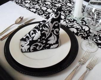 Black and White Napkins Floral Damask Wedding Table Linens Fabric Centerpiece Black Modern Decoration