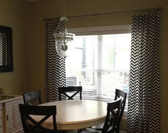 Black and White Curtain Panels Chevron Curtains Drapery Window Treatments Set Pair Black Stripe Drapes Modern Home Decor