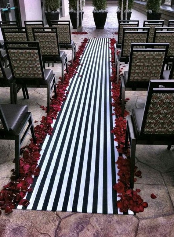wedding black and white stripe aisle runner by exclusiveelements