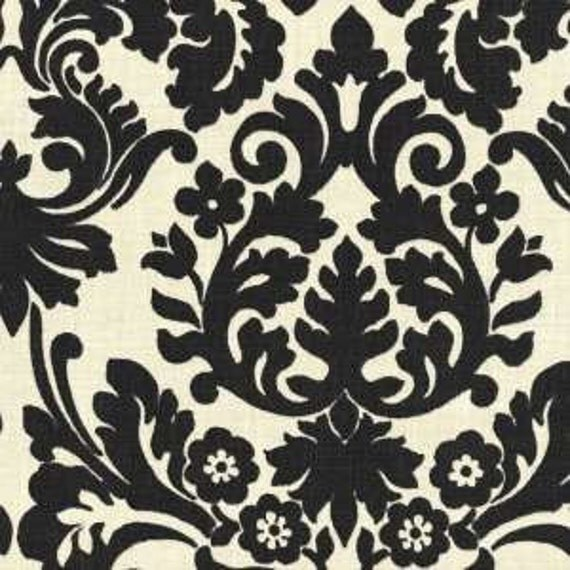Black And Ivory Curtain Panels Black Damask By