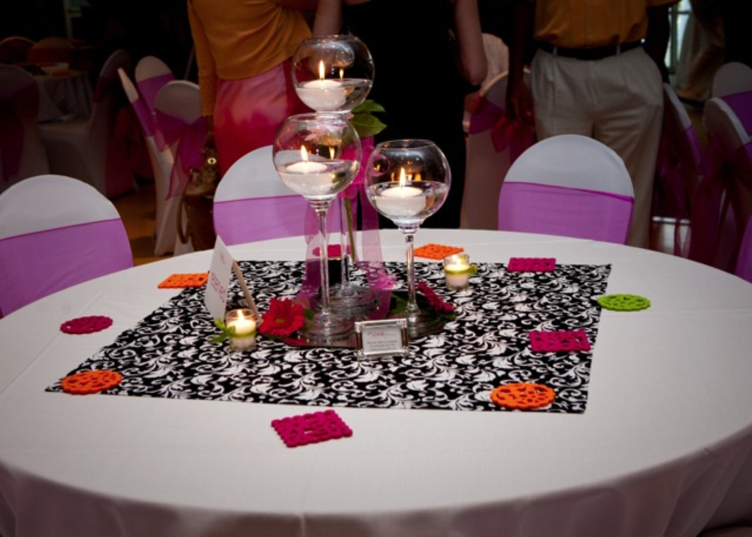 Black and white floral scroll damask table by