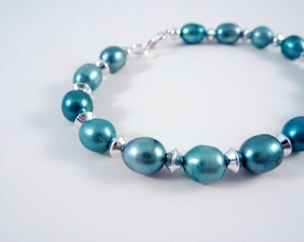 Pearl Bracelet Spruce Blue Freshwater Pearl and Silver Beads