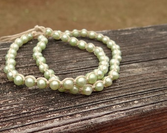 Mint Green Fresh Water Pearl Hemp Macrame Bracelets