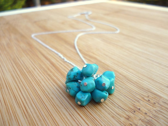Turquoise Necklace, Cluster of Blue Turquoise Nuggets on Sterling Silver Chain