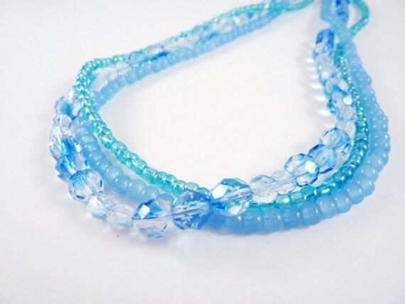 Blue Necklace, Czech Glass Ice
