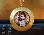 Greta locket - vintage style locket with girl and squirrel by Marisol Spoon