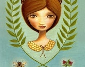 art print Acorn queen big eye Girl Bee pink berry beehive bird print nest blue green autumn premium matte by Marisol Spoon