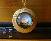 Ship Locket Nautical jewelry Sailboat Necklace brass locket gold locket Boho jewelry Wearable Art vintage locket nautical necklace