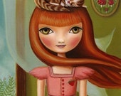 8x10 Girl and cat art  - Abigail print on premium matte paper - woodland pop surrealism by Marisol Spoon