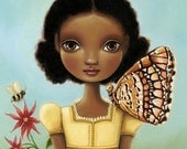 art print Girl butterfly honey bee print blue sky natural black african girl flower 11x14 LARGE print on premium matte Maya by Marisol Spoon