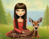 art print big eye Girl deer fawn print ocean sea forest big sur - 8x10  print snow white matte paper - Woodland and sea art by Marisol Spon