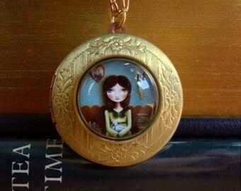 brass locket art necklace Girl swan books big eye jewelry- The Reading Room locket -vintage style wearable art by Marisol Spoon